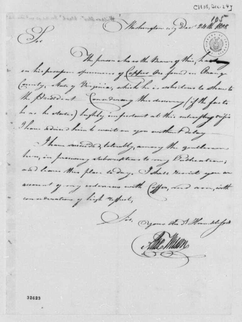 Alexander Wilson to Thomas Jefferson, December 24, 1808