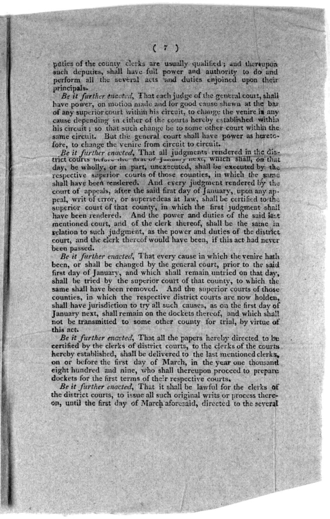 An act to organize and establish a superior court of law in each county of this commonwealth (Passed February 1st, 1808).