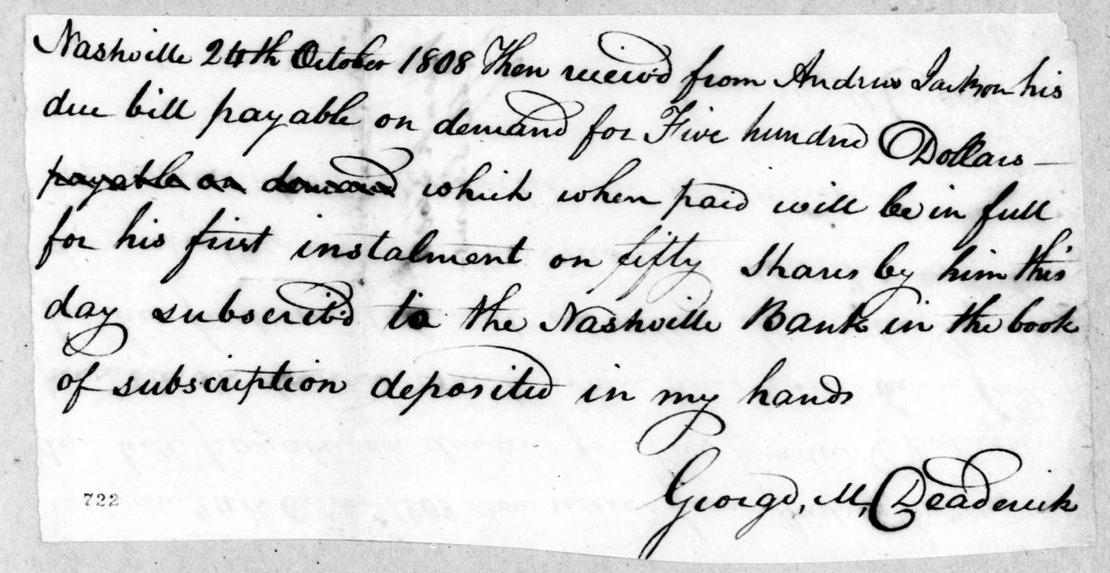 Andrew Jackson to George Michael Deaderick, October 24, 1808