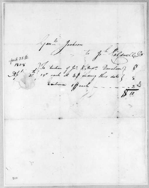 Andrew Jackson to John Caldwell, April 25, 1808