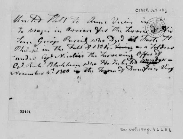 Anne Vickers George Purcel, October 28, 1808, Account