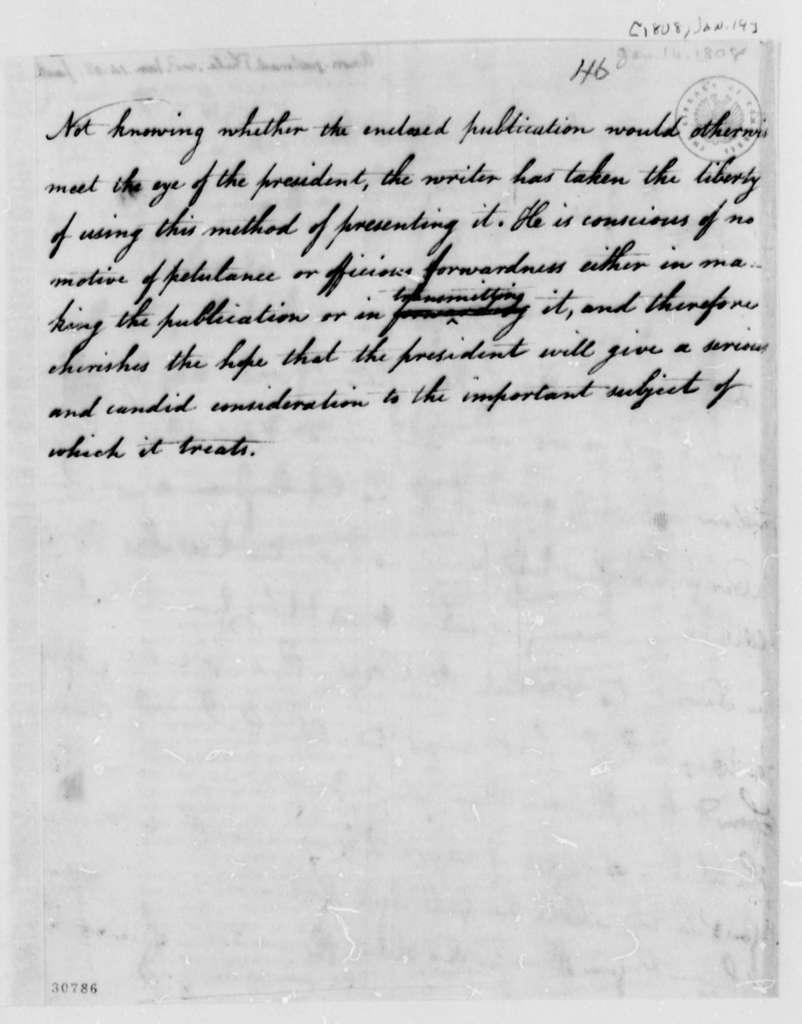 Anonymous to Thomas Jefferson, January 14, 1808
