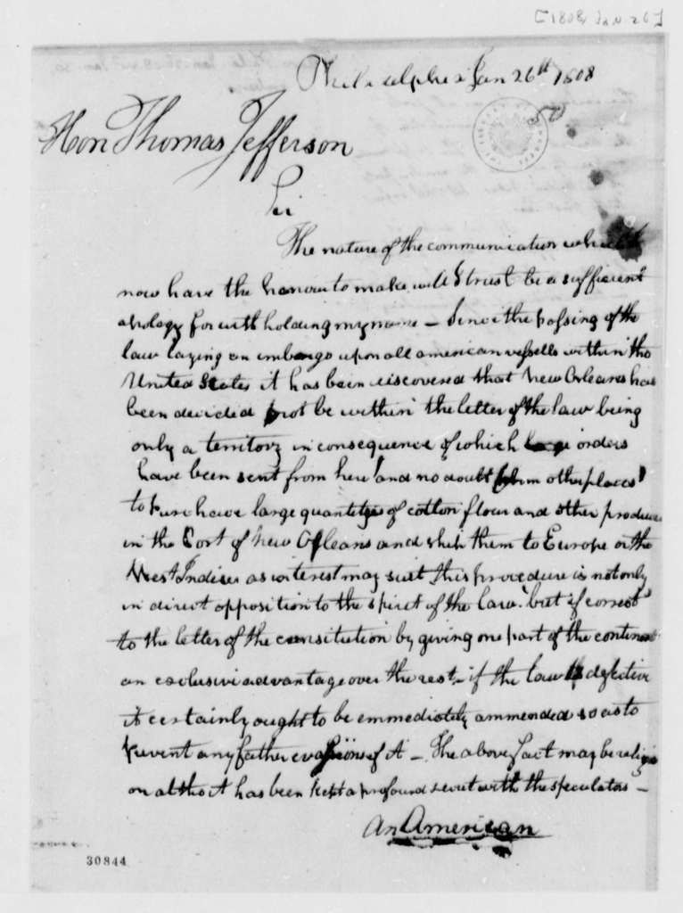 Anonymous to Thomas Jefferson, January 26, 1808, Signed An American