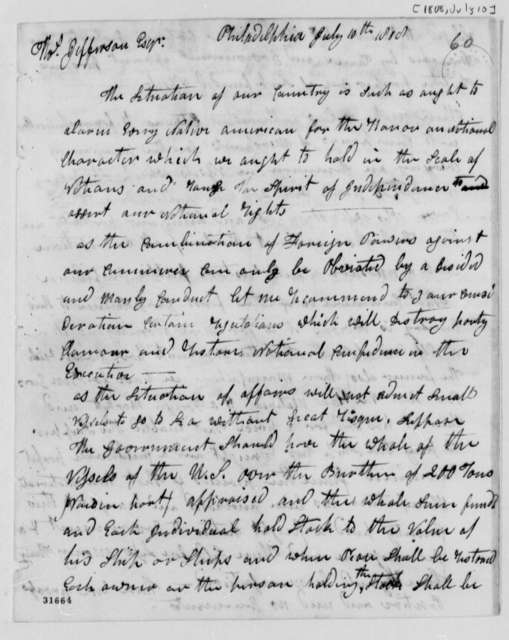 Anonymous to Thomas Jefferson, July 10, 1808, Signed A Native American