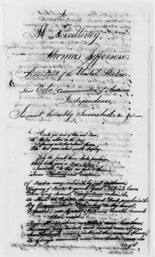 Anonymous to Thomas Jefferson, July 4, 1808, Ode to American Independence