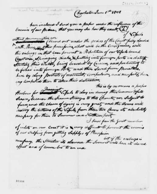 Anonymous to Thomas Jefferson, June 1, 1808, Naval Equipment