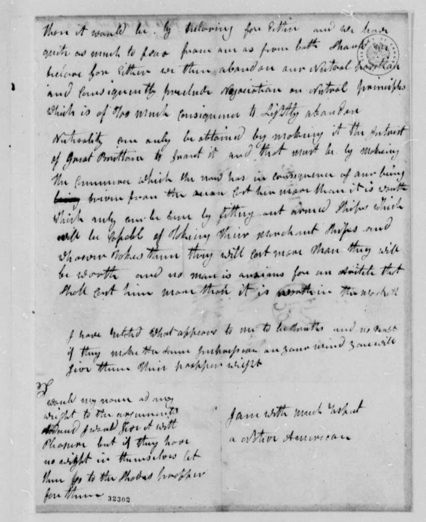 Anonymous to Thomas Jefferson, October 30, 1808, Signed Native American