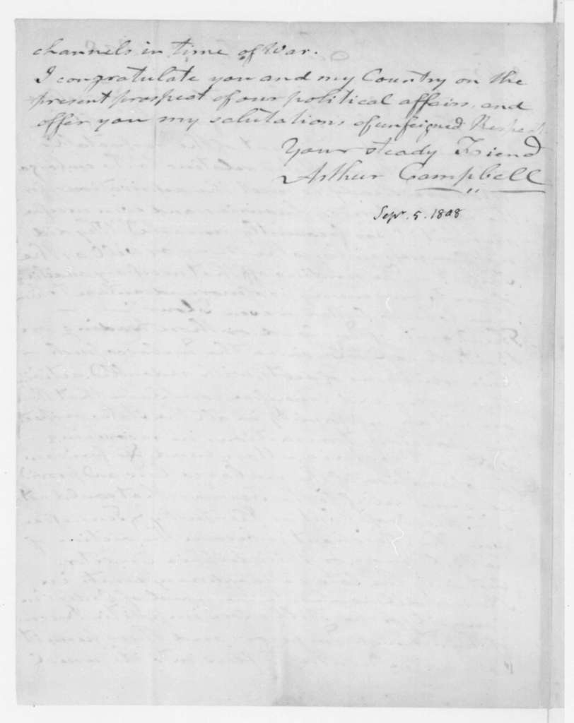 Arthur Campbell to James Madison, September 5, 1808.