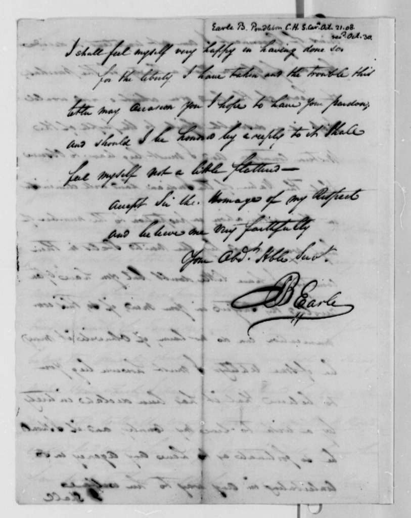 B. Earle to Thomas Jefferson, October 21, 1808