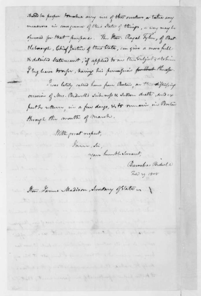 Barnabas Bidwell to James Madison, February 19, 1808.