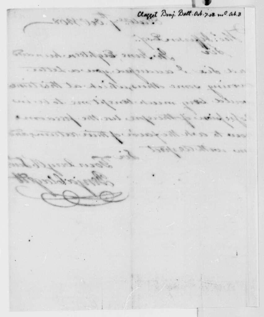 Benjamin Clagett to Thomas Jefferson, October 7, 1808
