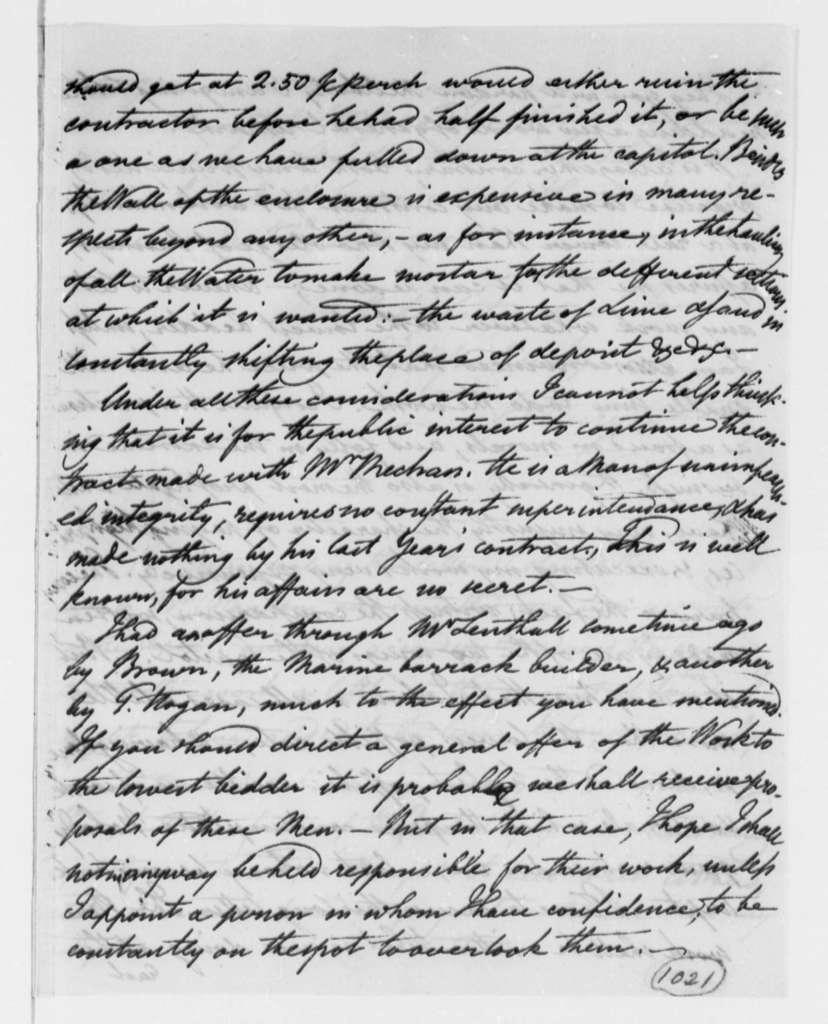 Benjamin H. Latrobe, Surveyor of the Public Buildings to Thomas Jefferson, May 1, 1808