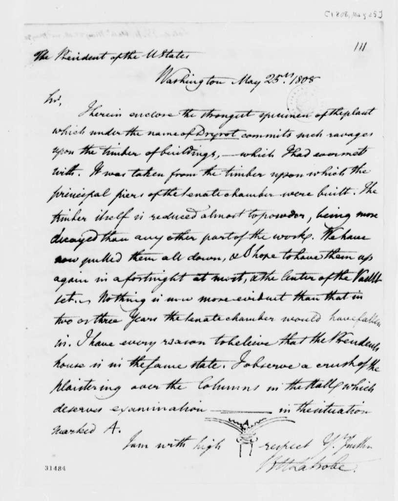 Benjamin H. Latrobe to Thomas Jefferson, May 25, 1808, with Drawing