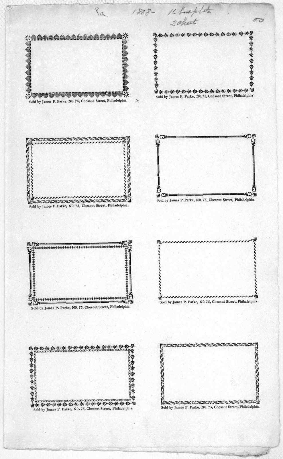 [Blank book plates sold by James P. Parke. No. 75 Chestnut Street 8 to a page].