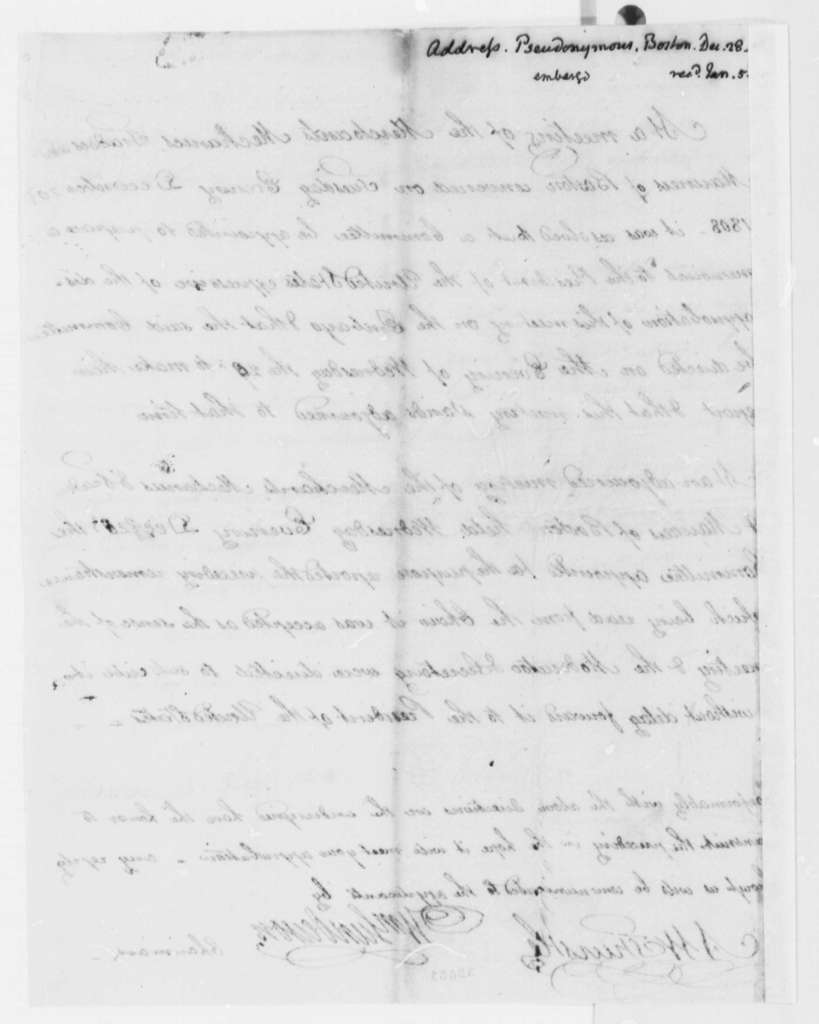 Boston Merchants and Traders, et al to Thomas Jefferson, December 28, 1808