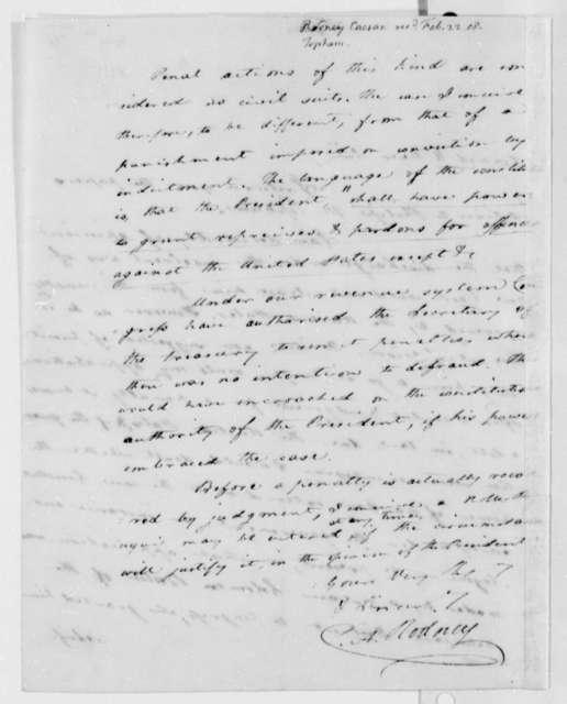 Caesar A. Rodney to Thomas Jefferson, February 22, 1808