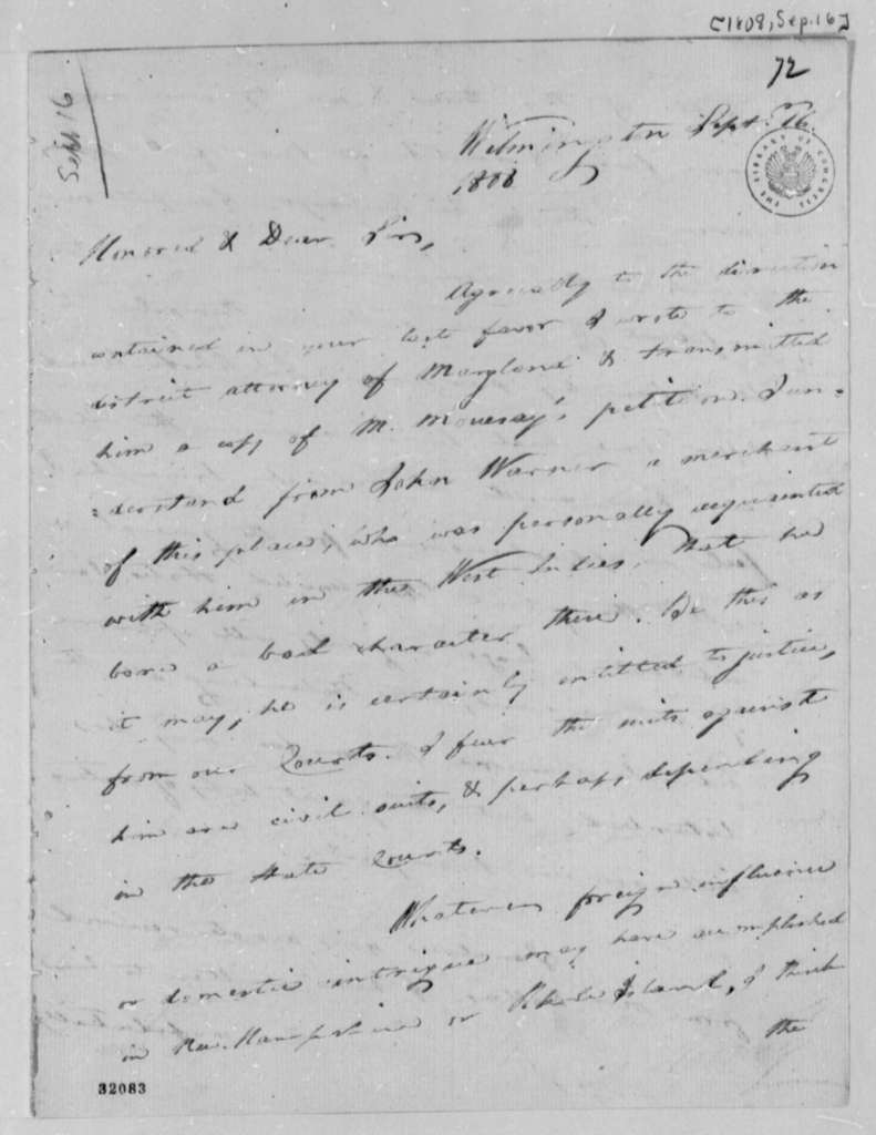 Caesar A. Rodney to Thomas Jefferson, September 16, 1808