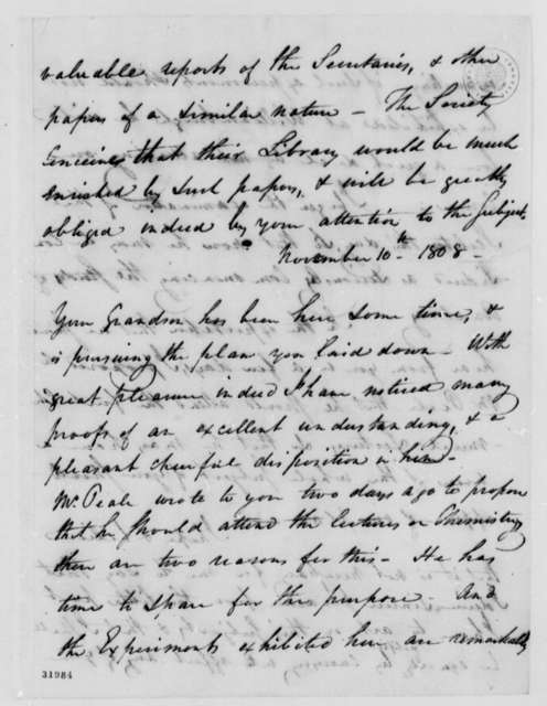 Caspar Wistar to Thomas Jefferson, August 30, 1808, and List of Bones