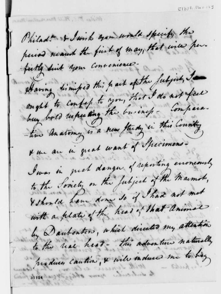 Caspar Wistar to Thomas Jefferson, March 12, 1808