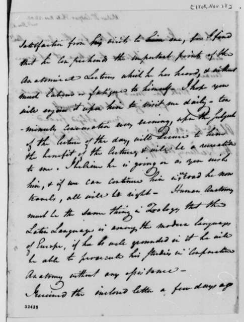 Caspar Wistar to Thomas Jefferson, November 28, 1808