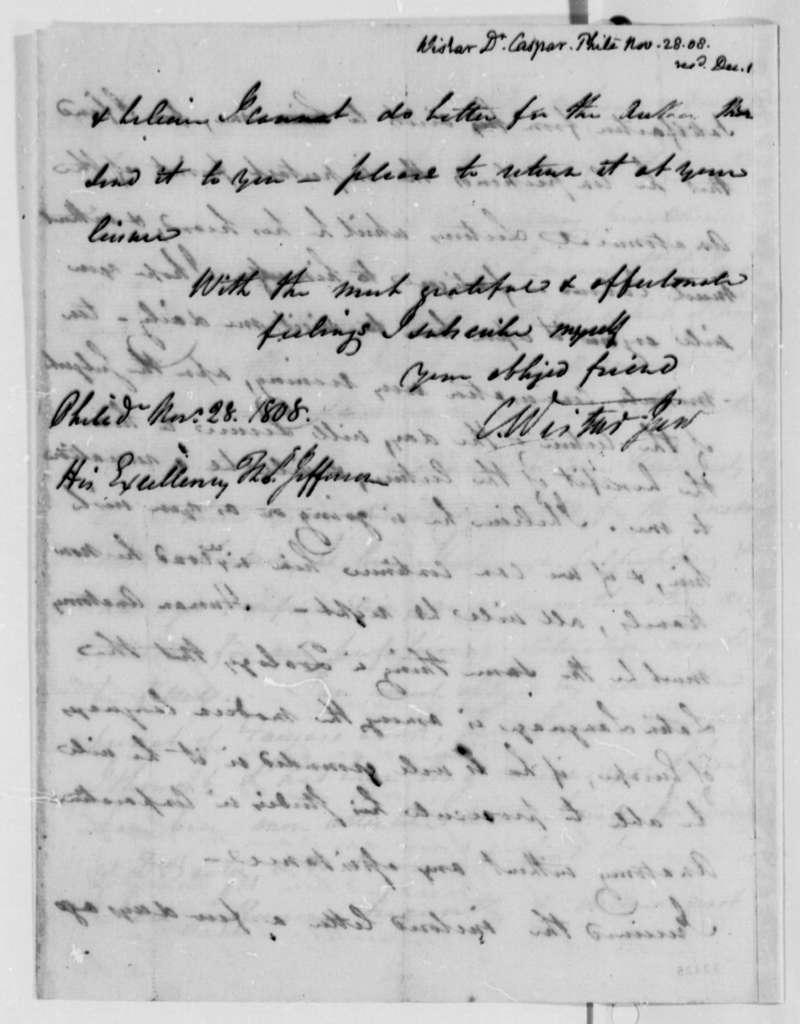 Caspar Wistar to Thomas Jefferson, November 28, 1808