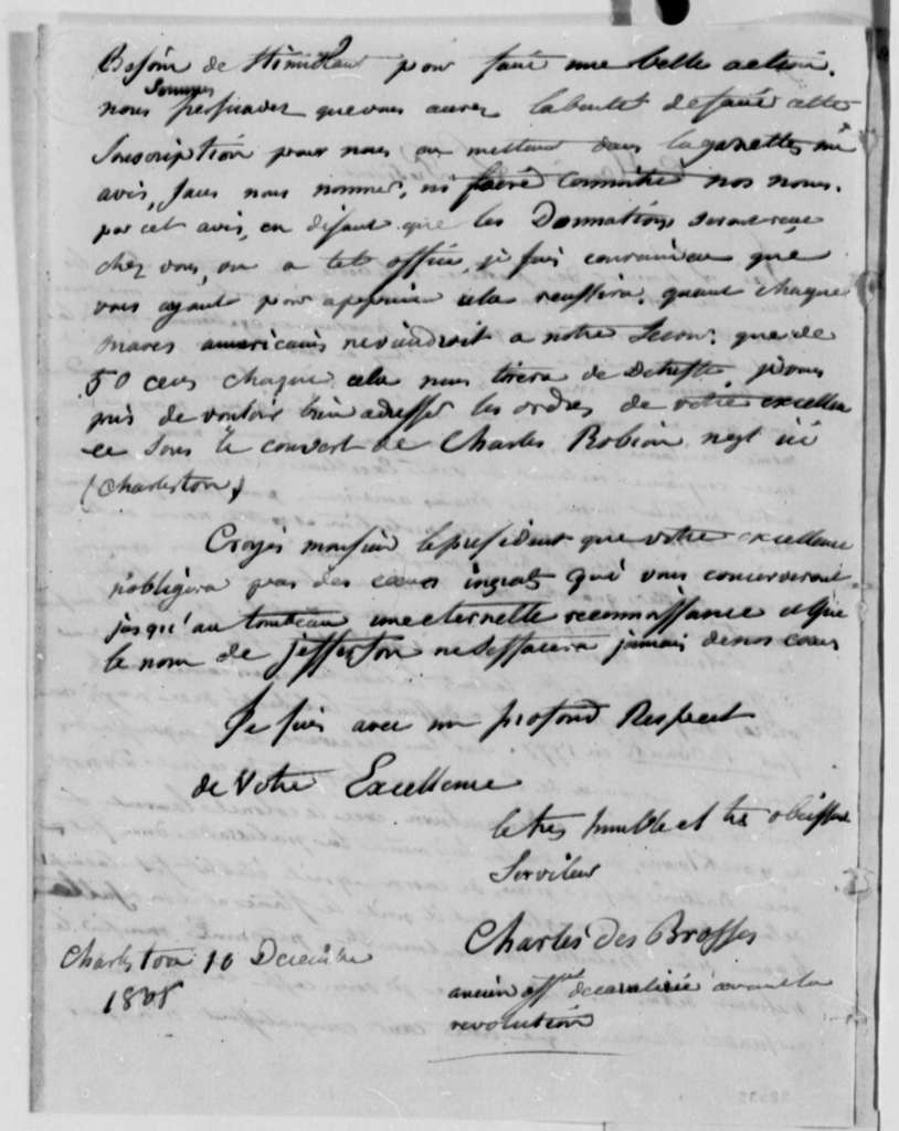 Charles des Brosses to Thomas Jefferson, December 10, 1808, in French