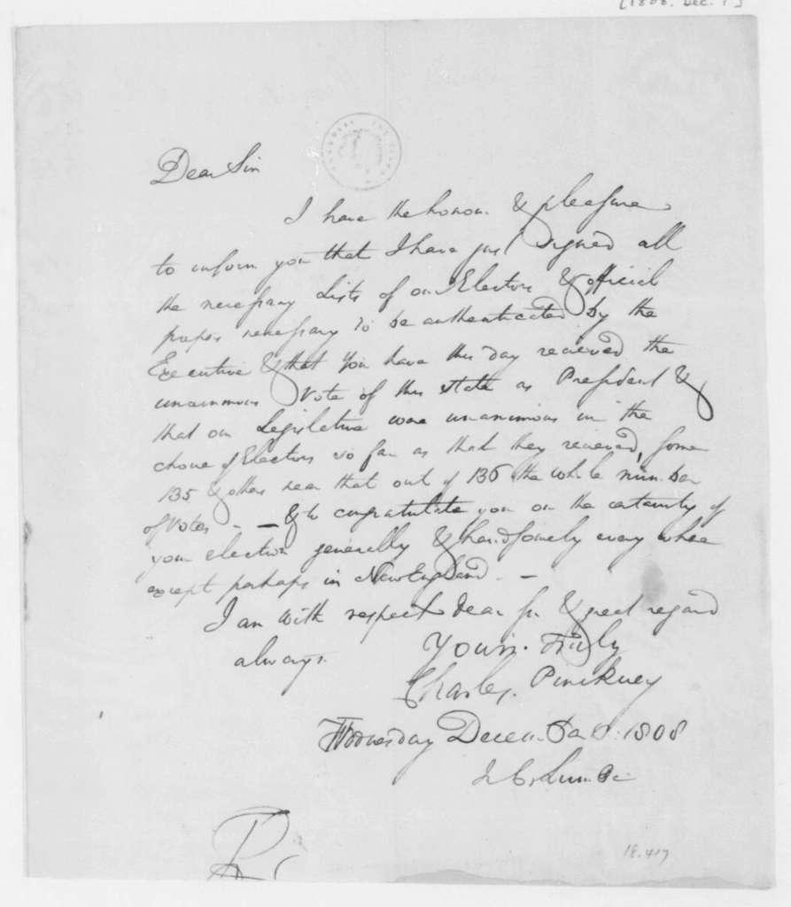Charles Pinckney to James Madison, December 7, 1808.