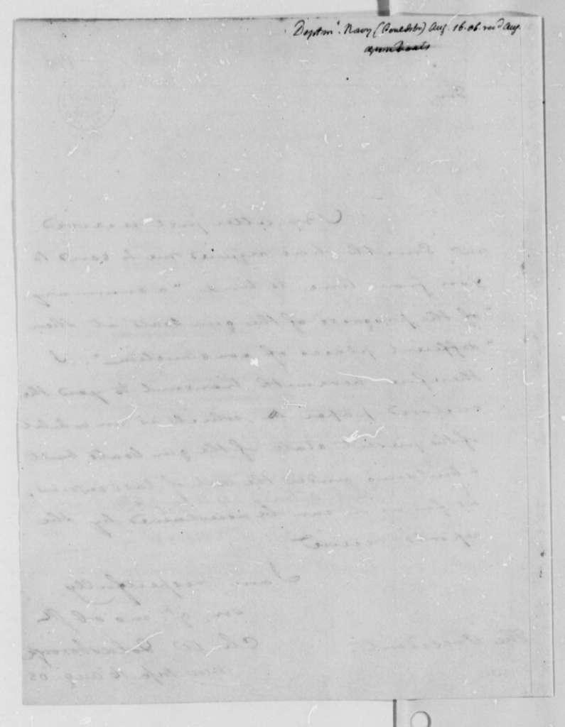 Charles W. Goldsborough to Thomas Jefferson, August 16, 1808