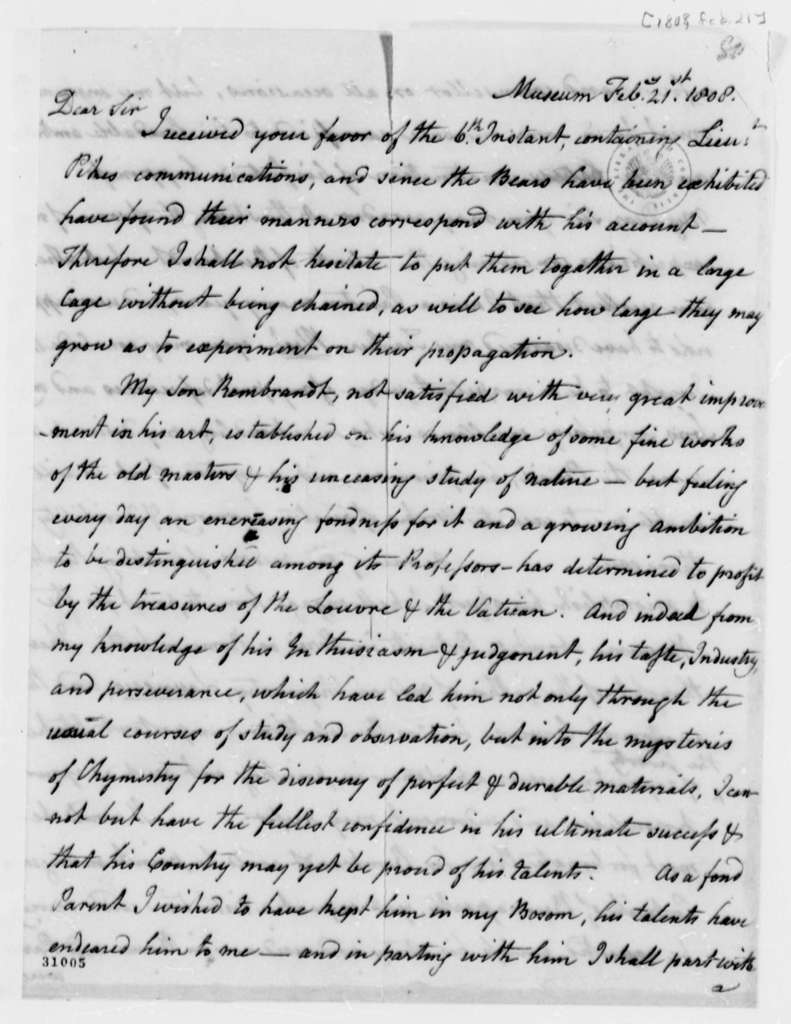 Charles Willson Peale to Thomas Jefferson, February 21, 1808