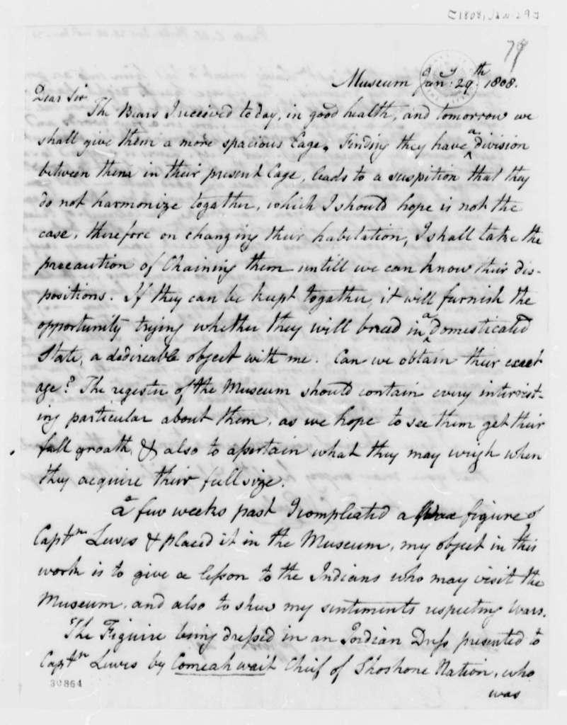 Charles Willson Peale to Thomas Jefferson, January 29, 1808