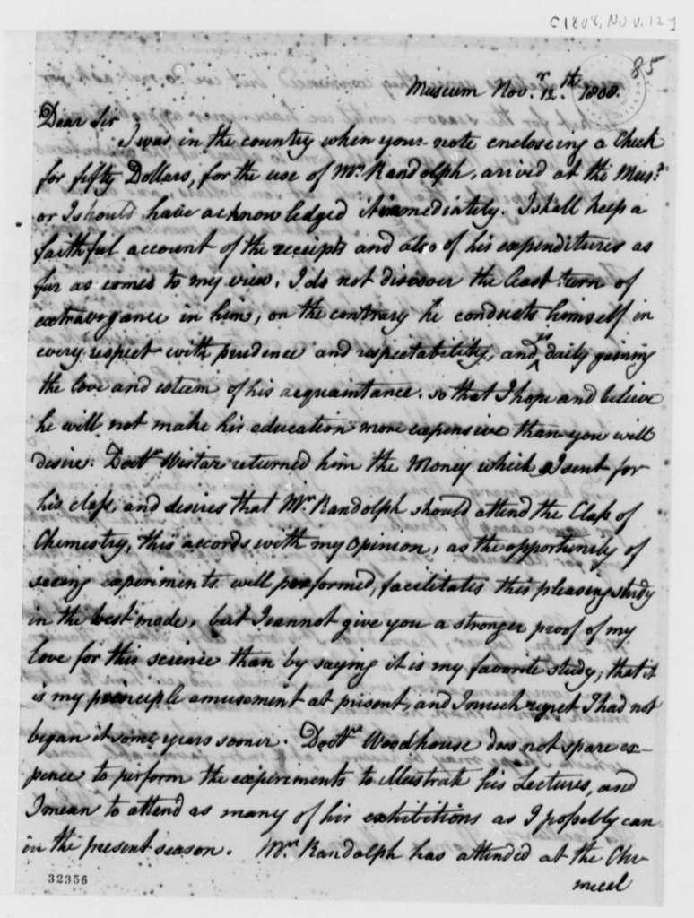 Charles Willson Peale to Thomas Jefferson, November 12, 1808