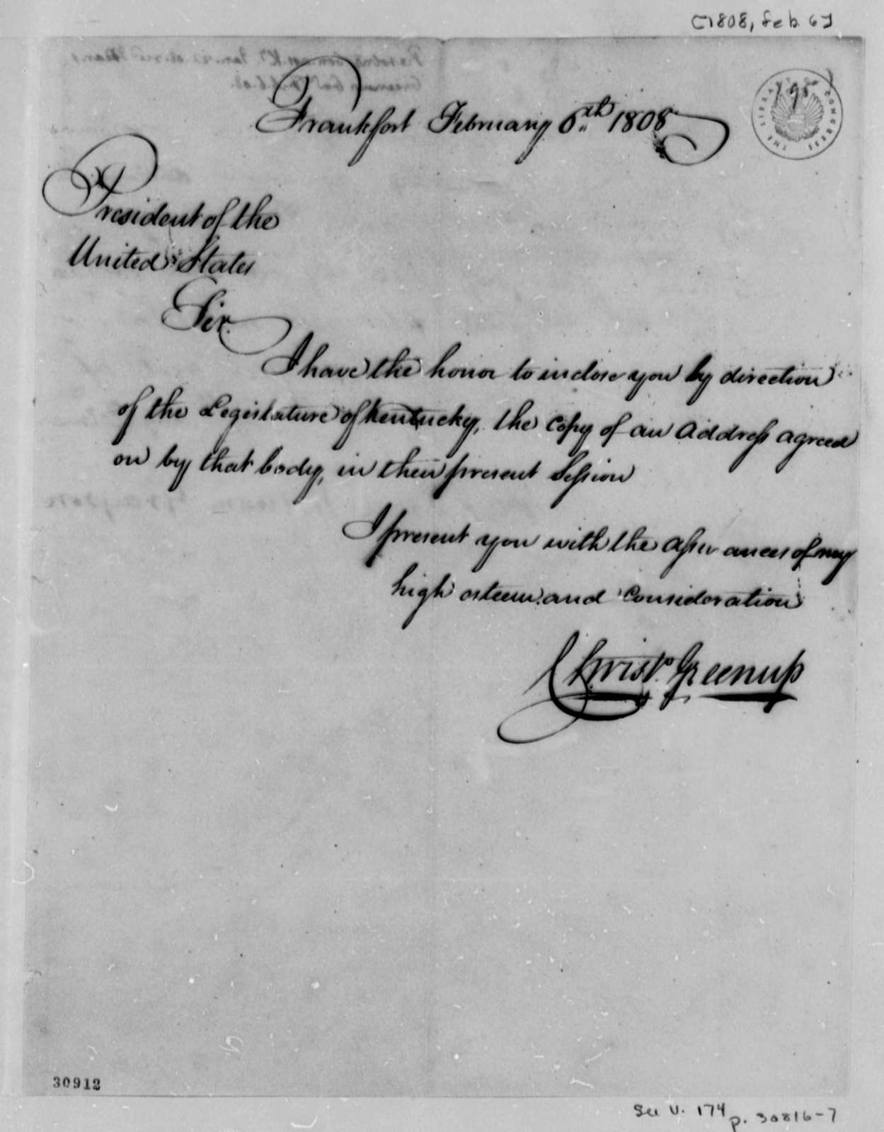 Christopher Greenup to Thomas Jefferson, February 6, 1808, Resolution
