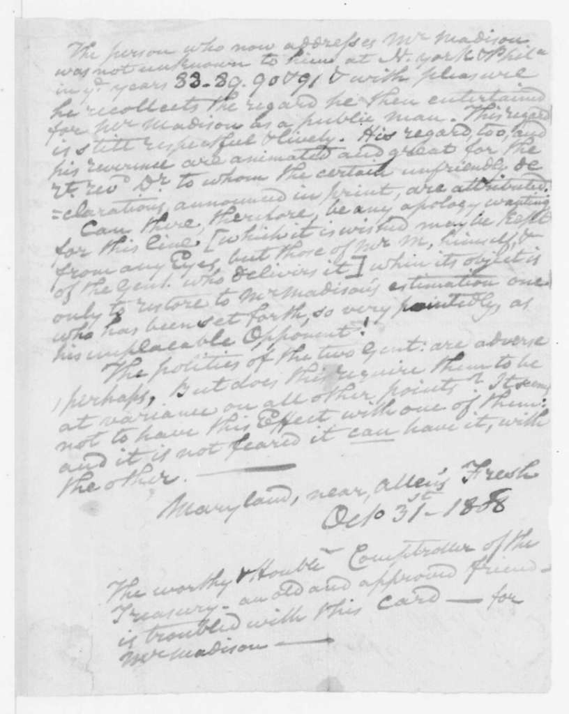 D. Contee to James Madison, October 31, 1808.