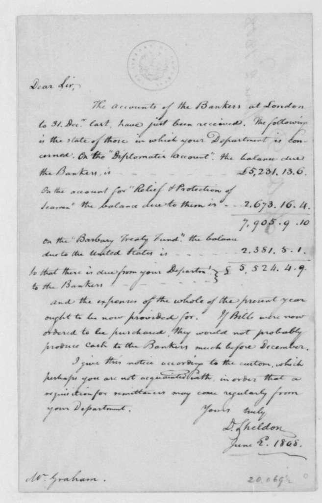 D. Sheldon to John Graham, June 2, 1808.