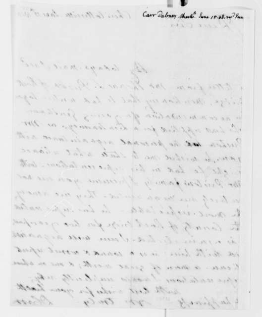 Dabney Carr to Thomas Jefferson, June 15, 1808