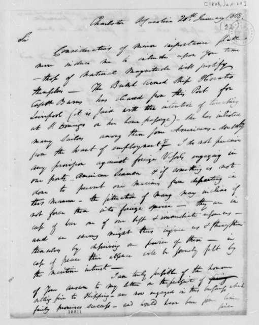 Daniel D'Oyley to Thomas Jefferson, January 20, 1808, Opinion on Case