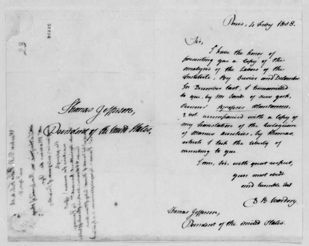 David B. Warden to Thomas Jefferson, February 4, 1808, and Thomas Jefferson's Book List