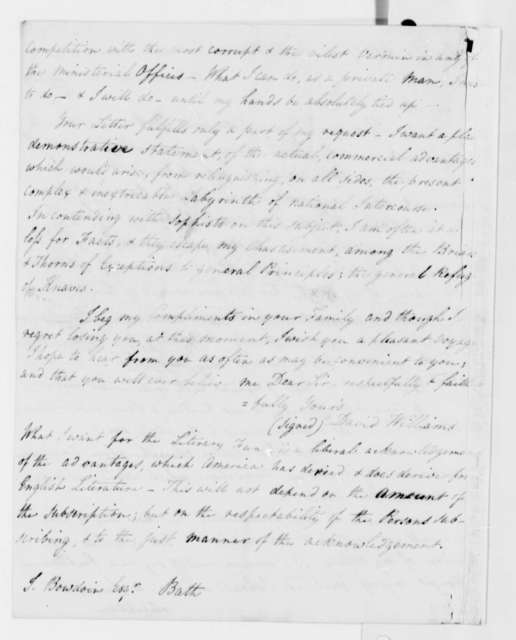 David Williams to James Bowdoin, March 4, 1808