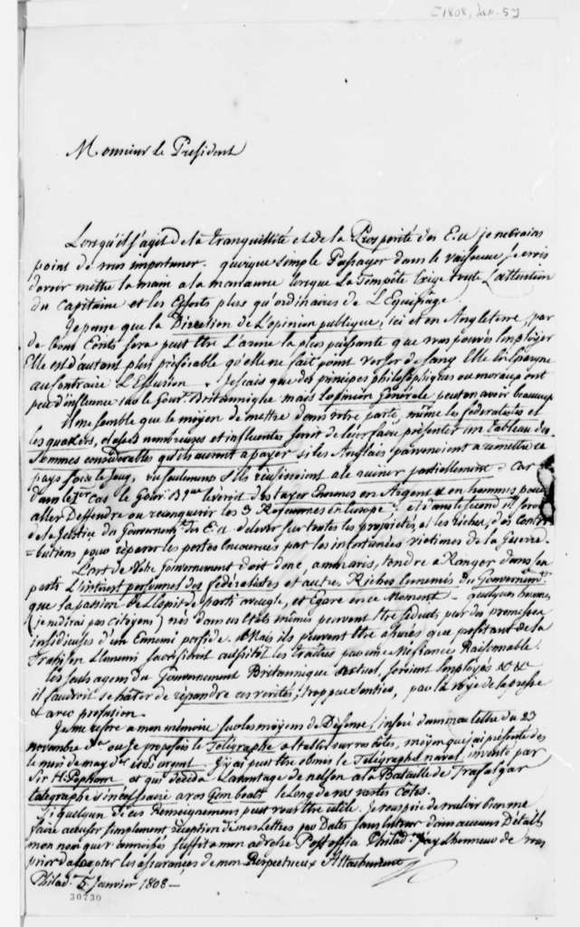 De Lomerie to Thomas Jefferson, January 5, 1808, in French