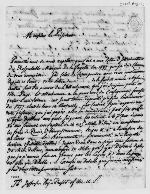 De Lormerie to Thomas Jefferson, August 15, 1808, in French