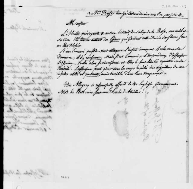 "De Lormerie to Thomas Jefferson, March 29, 1808, in French; on Verso, ""Anon., Supposed De Lormerie"" in Jefferson's Hand"
