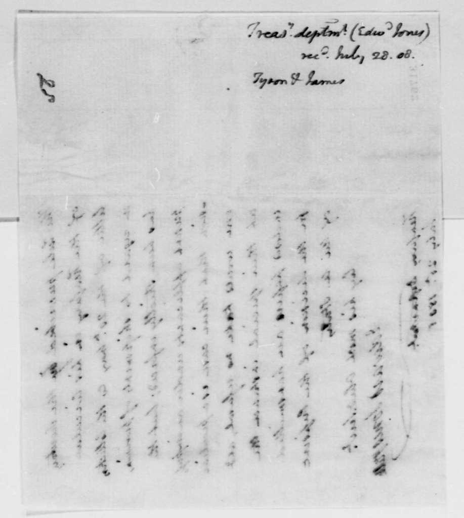 Edward Jones to Thomas Jefferson, July 25, 1808