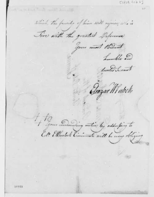 Eleazar Wheelock to Thomas Jefferson, February 8, 1808