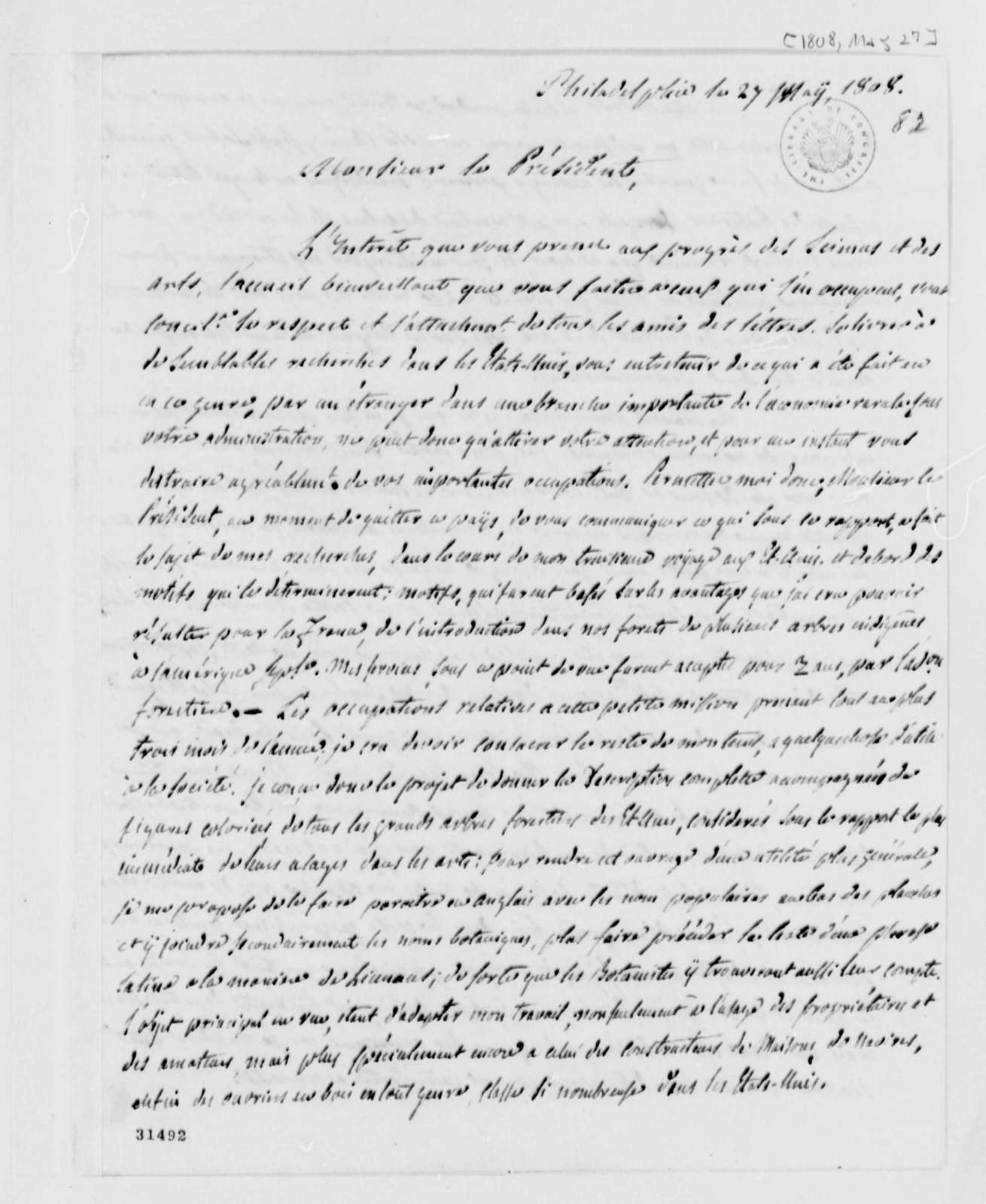 F. Andre Michaux to Thomas Jefferson, May 27, 1808