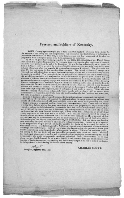 Freemen and soldiers of Kentucky ... Charles Scott. Frankfort. Nov. 17, 1808.
