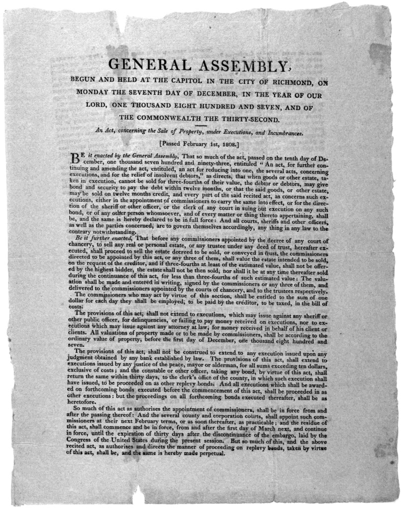 General Assembly. begun and held at the Capitol in the City of Richmond, on Monday the seventh day of December, in the year of our Lord, one thousand eight hundred and seven, and of the Commonwealth the thirty-second. An act, concerning the sale