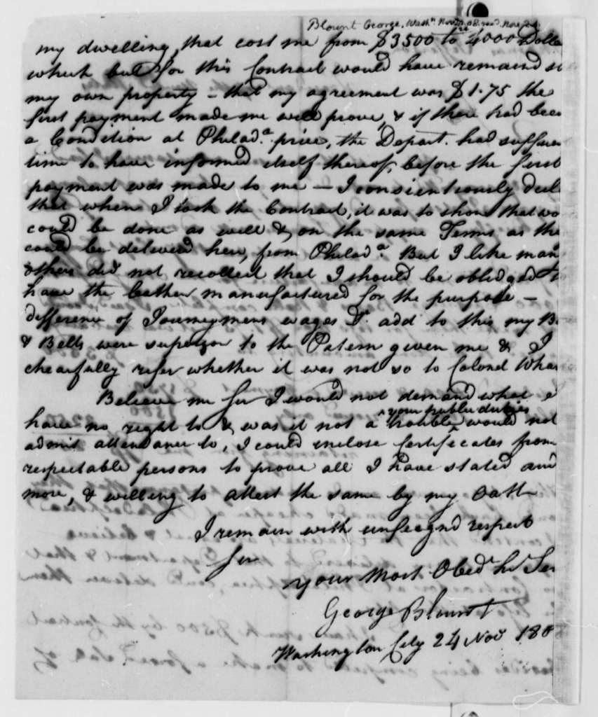 George Blount to Thomas Jefferson, November 24, 1808