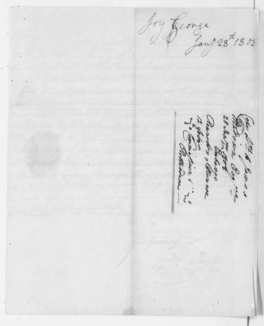 George Joy to James Madison, January 28, 1808. Verso includes letter dated Feb. 12, 1808.
