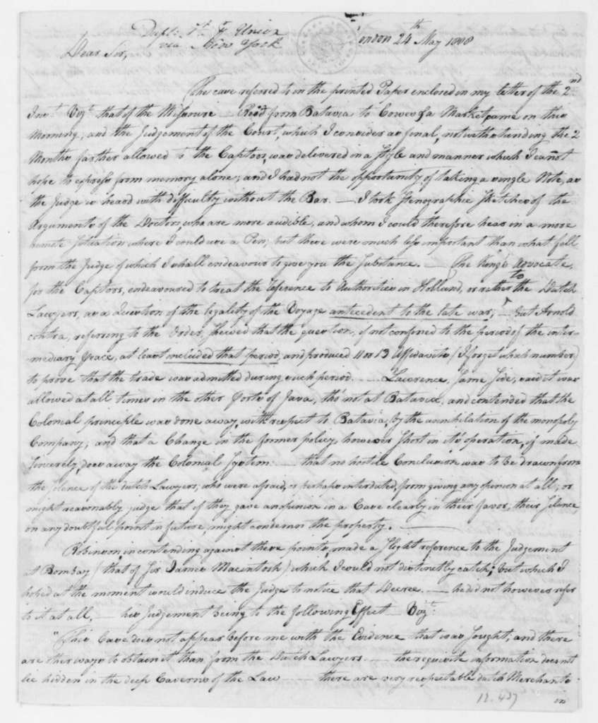 George Joy to James Madison, May 24, 1808. With Copy.