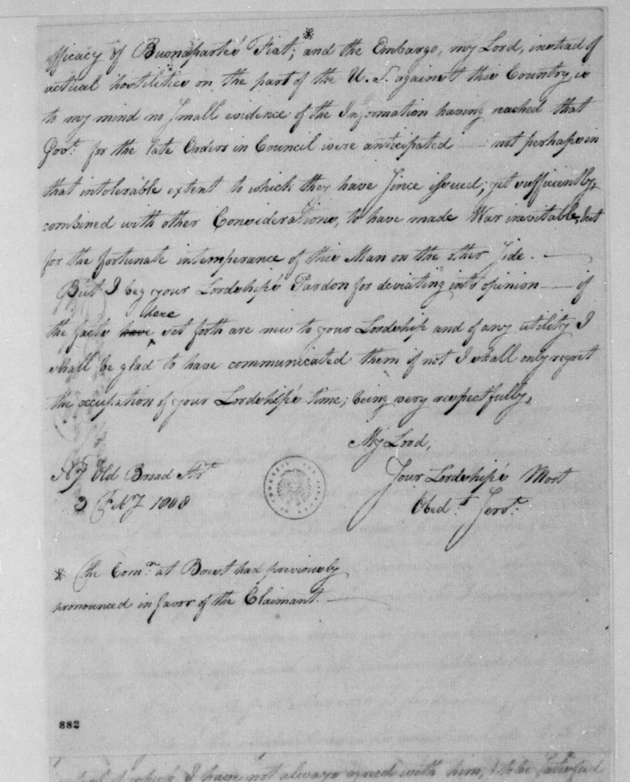 George Joy to Lord Grenville, February 3, 1808.